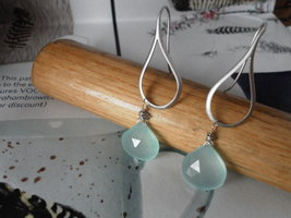 SMOOTH TEARDROP and  Peruvian Blue Chalcedony SILVER Earrings - $21.82