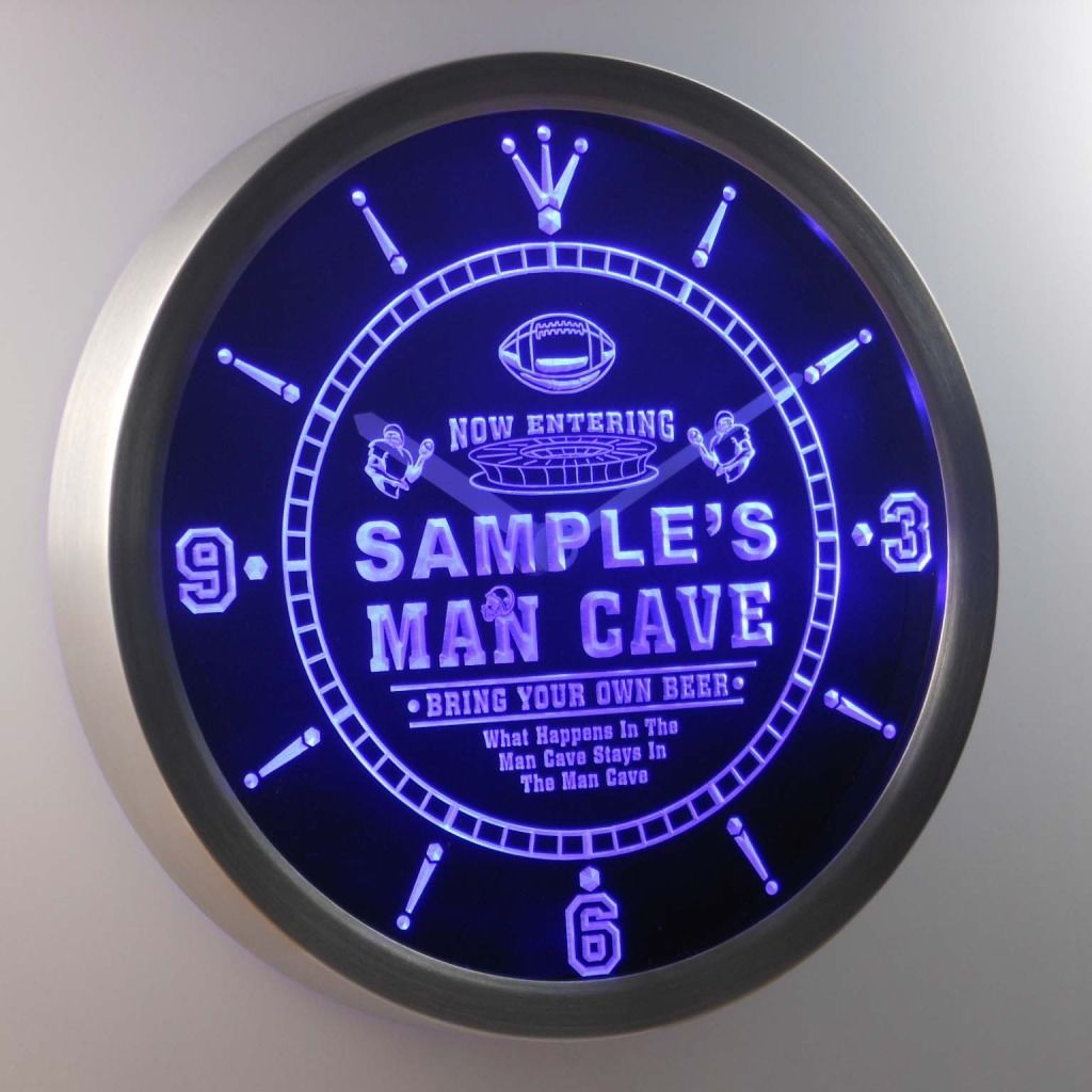 Personalized Neon Man Cave Signs : Personalized your name engraved clock custom man cave