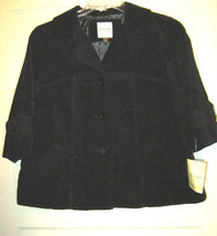 Sonoma black cotton velour button swing jacket short coat S NWT lined - $32.17