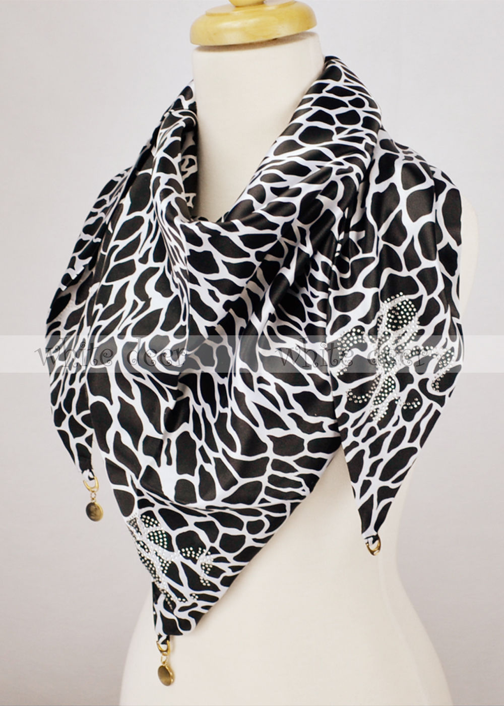 Primary image for 100% Silk Triangle Scarf Giraffe Print Fluer De Lis Rhinestone Coin Double Layer