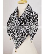 100% Silk Triangle Scarf Giraffe Print Fluer De Lis Rhinestone Coin Doub... - $12.82