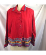 Coldwater Creek Southwest Embroidered Trim Red Jacket Flower Buttons PXL - $38.61