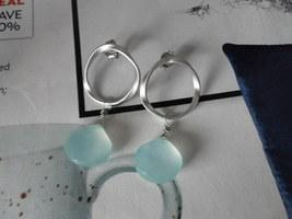 TWISTED HOOP PERUVIAN BLUE CHALCEDONY Matte Silver Earrings - $21.82