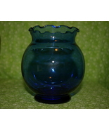 Anchor Hocking Cobalt Blue Ruffled Glass Bowl Vase - $5.35