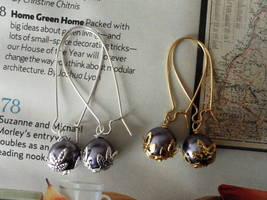WISTERIA SWAROVSKI PEARLS GOLD OR SILVER EARRINGS WEDDING bridesmaids GIFT - $9.30