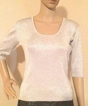 Joseph A. Silk Sweater Medium silver grey Spandex Metallic Women's 3/4 S... - $14.85