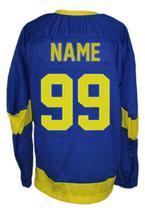 Any Name Number Ukraine National Team Retro Hockey Jersey Blue Any Size image 2