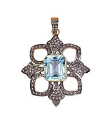 Rose Cut Natural Diamond 925 Sterling Silver Pendant, Handmade Oxidized ... - $183.15