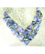 Abstract Purple Lace Jasper or Agate Sterling Silver Choker Bib Necklace... - $417.00