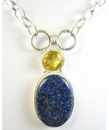 Natural Oval Dark Blue Lapis Lazuli with Citrine Sterling Silver Necklac... - $97.00