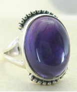 Royal Purple Oval Amethyst Sterling SIlver Ring 925 Size 5-3/4 solid band - $93.00