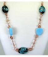 Midnight Blue Art Glass and Beach Glass with Peruvian Aquamarine Copper ... - $163.00