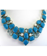 Natural Mexican Turquoise with Blue Topaz + Pea... - $361.92