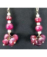 Red Natural Hand Faceted Ruby Sterling Silver Dangle Earrings of India 925 - $83.00