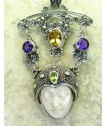 Hand Carved Goddess and Amethyst Citrine Peridot Sterling Silver Pendant... - $144.78