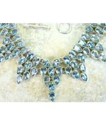 Ice Blue with a Hint of Mint Topaz Tear Drop Collar Sterling Silver Neck... - $350.71