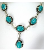 Ovals of Veined Southwestern Turquoise Sterling... - $157.00