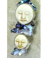 2 Two Hand Carved Moon Goddess + Abalone Clouds Sterling Silver Pendant ... - $168.00