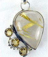 Rutilated Quartz aka Venus Hair Stone with Citrine Sterling Silver Penda... - $93.00
