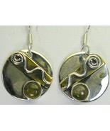 Minimalist Natural Green Tourmaline Dangle Sterling Silver Circle Earrin... - $67.00