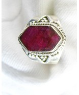 Natural Red Ruby faceted Hexagon Art Deco Style Sterling Silver Ring 925... - $127.00
