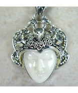 Hand Carved Goddess with Blue Topaz Accents Sterling Silver Pendant by J... - $126.19