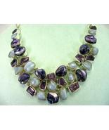 Purple Blister Pearl + Purple Amethyst with Blue Agate Sterling Silver N... - $377.00