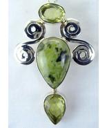 Serpentine Tear-Drop with Lemon Topaz Oval Tear-Drop Sterling Silver Pen... - $153.00