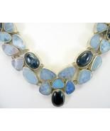 Blue Flash Kyanite + Blue Fire Opal doublet Sterling Silver Choker Neckl... - $423.00
