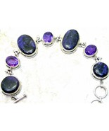 Rare Russian Charoite and faceted Amethyst Sterling Silver Bracelet 2 ou... - $163.36