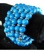 Dyed Turquoise Howlite Rounds with Sterling Sil... - $95.23
