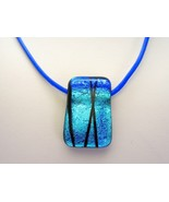 Metallic Blue Dichroic Glass Pendant with Leather Choker to Necklace han... - $53.00