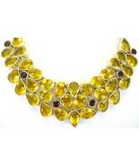 Golden Quartz with Red Garnet Sterling Silver Choker Collar Necklace tea... - $296.52