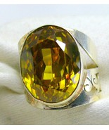 Large faceted Oval of Golden Citrine Sterling Silver Cocktail Ring 925 S... - $102.97