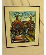 "Steam Engine Train Art Painting Titled ""Locomotion"" Signed Daerra - $76.99"