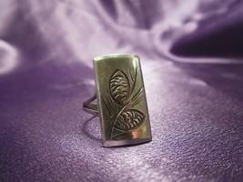 Modernist STUART NYE Sterling Silver .925 Etched Pine Cone Ring  - Adjus... - $49.50