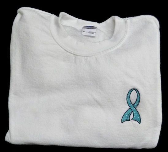 Teal Awareness Ribbon Sweatshirt M Polka Dot White Crew Neck Unisex Blend New