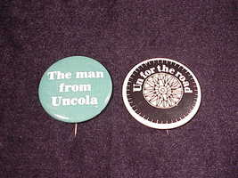 2 Retro 7up Uncola Pinback Buttons, Un for the Road and The Man From Uncola - $6.95