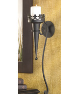GOTHIC CANDLE SCONCE Pillar Candle Holder Black Iron Wall Mounted GOTH (... - $28.00