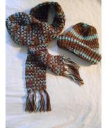Custom Handmade SCARF & BEANIE Set Brown and Blue Tones. Earth & Sky - $38.00