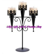 MEDIEVAL GOTHIC Triple CANDLE Stand Pillar Candle Holder Black Iron (#14... - $32.00