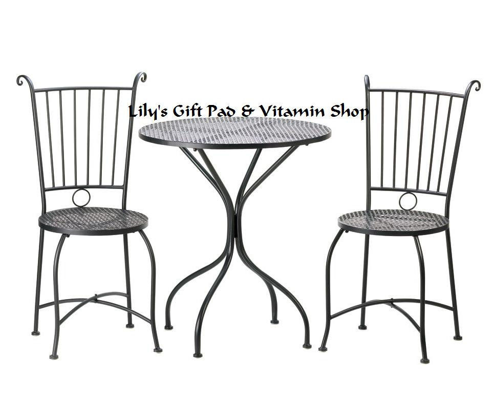 patio bistro set black metal lattice top table two chairs garden decor 10015460 patio garden. Black Bedroom Furniture Sets. Home Design Ideas