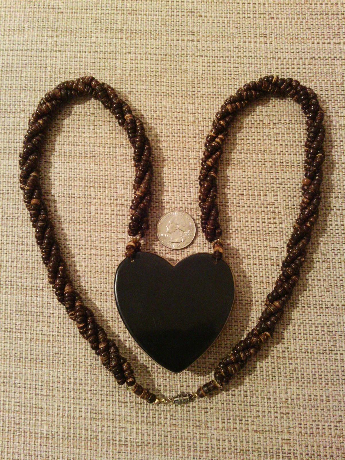 Heart Shaped Pink Abalone Shell Mosaic Wood Bead Necklace