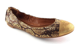 New TORY BURCH Size 7 YORK Gold Cap Toe Roccia Print Ballet Flats Shoes - $129.00