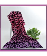 Large Pink Purple Leopard Hotel Size Terry Bath Beach Towel  - $48.95