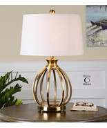 Open Cage Table Lamp Gold Open Brass Metal Modern Gourd New - $356.40