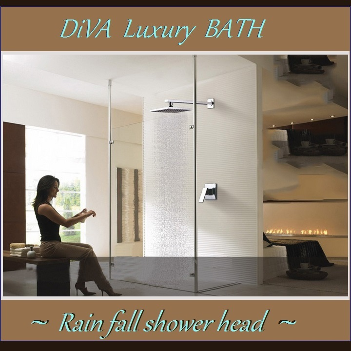 "DiVA Luxury Bath Rain Fall Shower Head 12"" Square Silver Chrome Fixture Set"