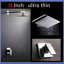 "DiVA Luxury Bath Rain Fall Shower Head 12"" Square Silver Chrome Fixture Set image 2"