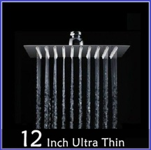 "DiVA Luxury Bath Rain Fall Shower Head 12"" Square Silver Chrome Fixture Set image 3"