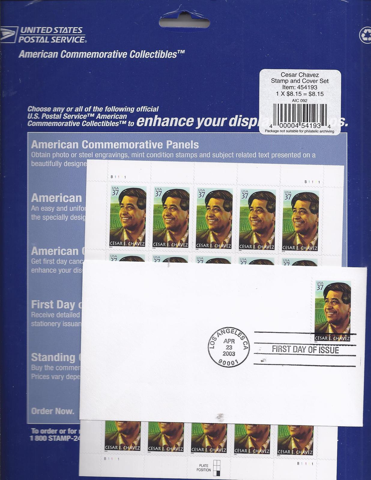 CESAR CHAVEZ Stamp & Cover Set  (USPS) .37 c Stamp Sheet 20